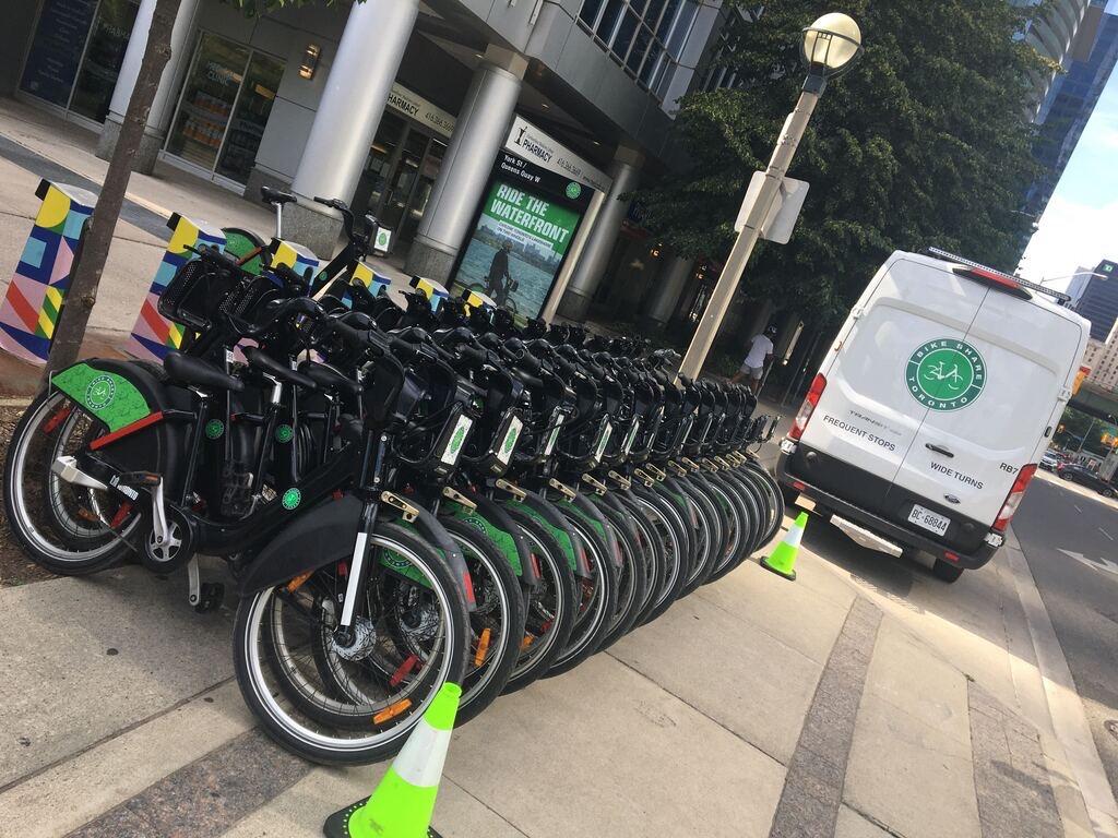 Bikeshare rebalancing vans for Bike Share Toronto